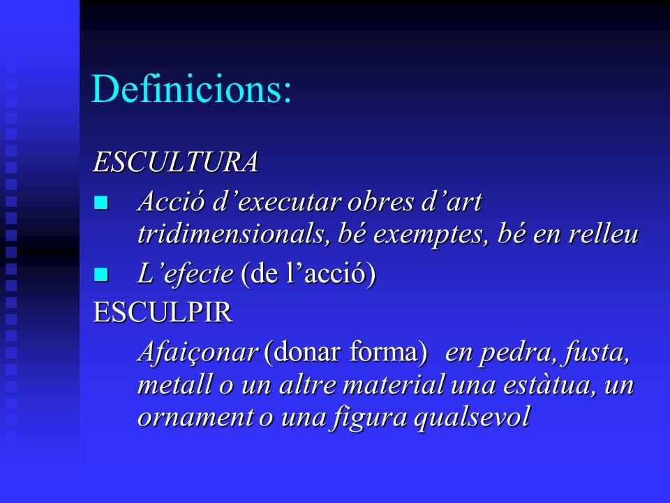Definicions: ESCULTURA Acció dexecutar obres dart tridimensionals, bé exemptes, bé en relleu Acció dexecutar obres dart tridimensionals, bé exemptes, bé en relleu Lefecte (de lacció) Lefecte (de lacció)ESCULPIR Afaiçonar (donar forma) en pedra, fusta, metall o un altre material una estàtua, un ornament o una figura qualsevol