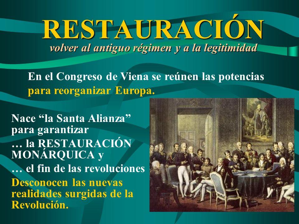 RESTAURACIÓN volver al antiguo régimen y a la legitimidad Nace la Santa Alianza para garantizar … la RESTAURACIÓN MONÁRQUICA y … el fin de las revoluc