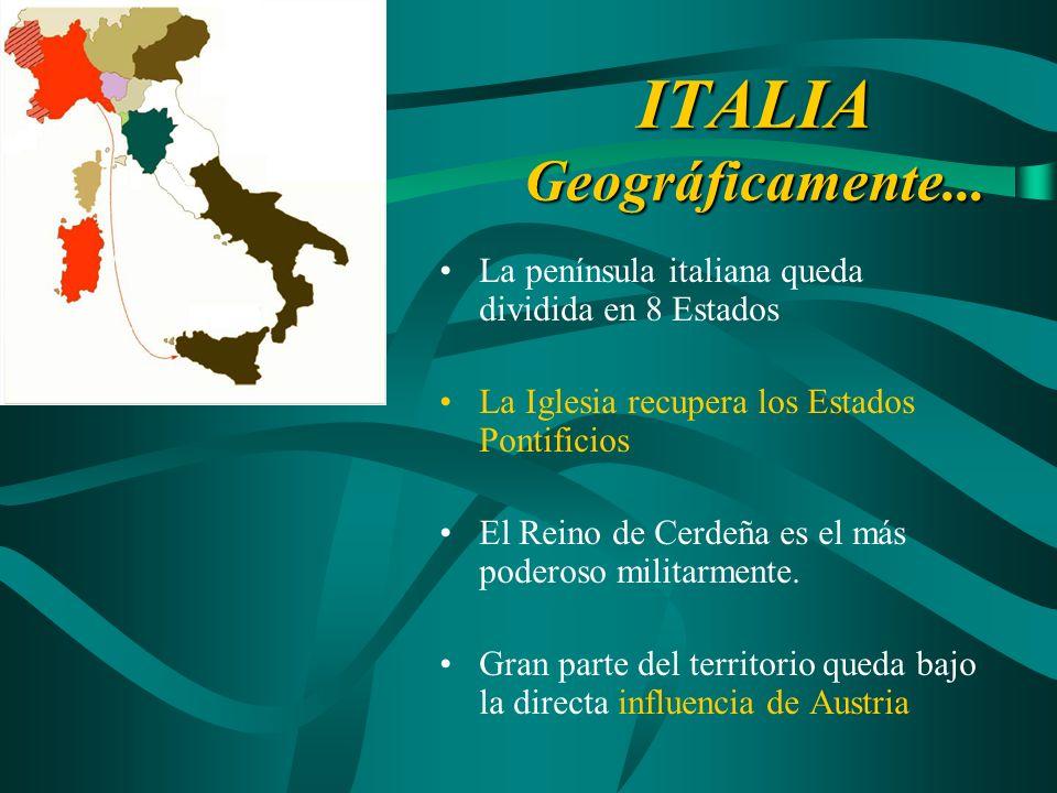 ITALIA Geográficamente... La península italiana queda dividida en 8 Estados La Iglesia recupera los Estados Pontificios El Reino de Cerdeña es el más