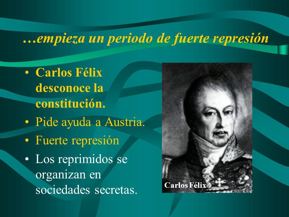 …empieza un periodo de fuerte represión Carlos Félix desconoce la constitución. Pide ayuda a Austria. Fuerte represión Los reprimidos se organizan en