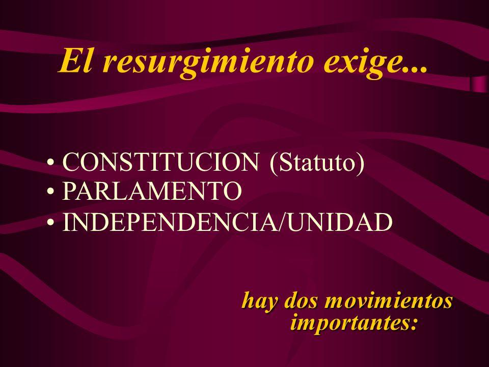 El resurgimiento exige... CONSTITUCION (Statuto) PARLAMENTO INDEPENDENCIA/UNIDAD hay dos movimientos importantes: