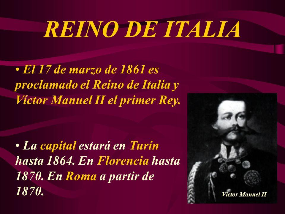 El 17 de marzo de 1861 es proclamado el Reino de Italia y Víctor Manuel II el primer Rey. La capital estará en Turín hasta 1864. En Florencia hasta 18