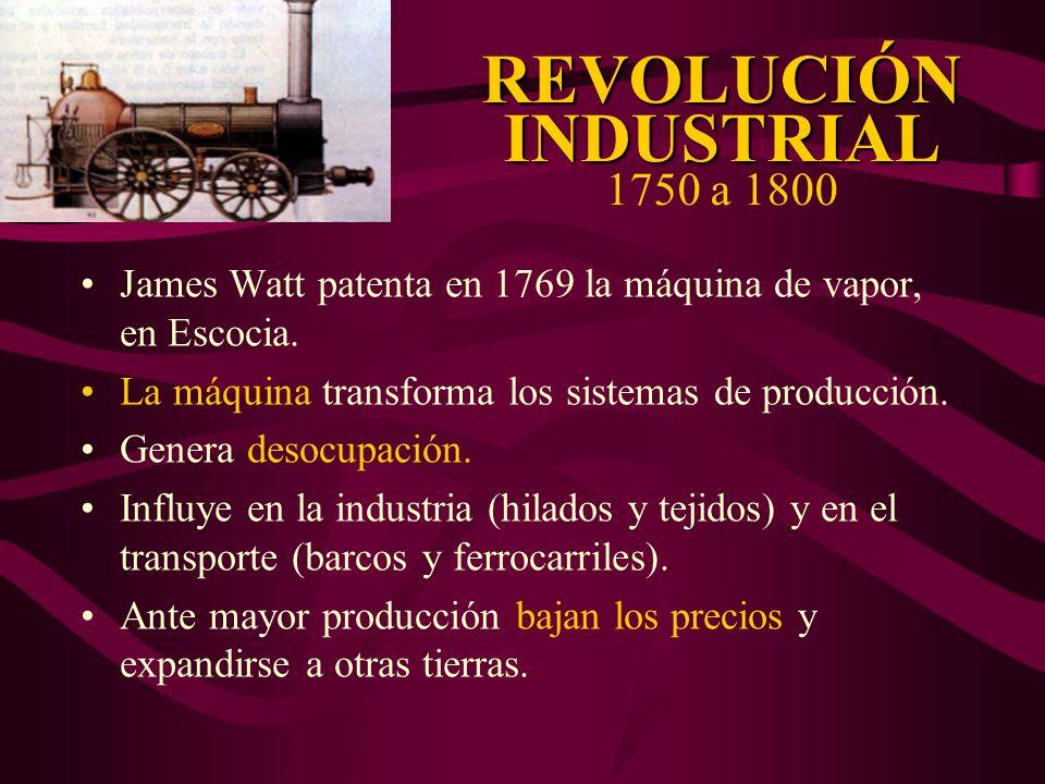 REVOLUCIÓN INDUSTRIAL REVOLUCIÓN INDUSTRIAL 1750 a 1800 James Watt patenta en 1769 la máquina de vapor, en Escocia. La máquina transforma los sistemas