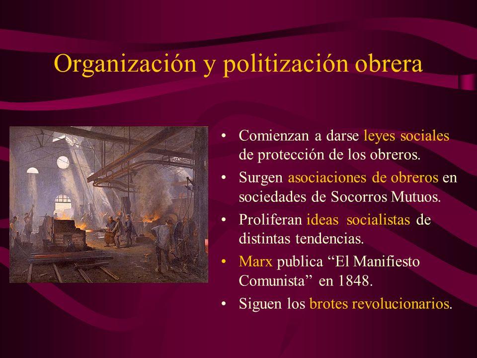 Organización y politización obrera Comienzan a darse leyes sociales de protección de los obreros. Surgen asociaciones de obreros en sociedades de Soco