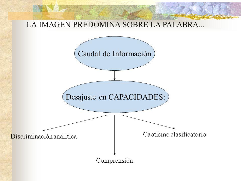 LA IMAGEN PREDOMINA SOBRE LA PALABRA... Caudal de Información Desajuste en CAPACIDADES: Discriminación analítica Comprensión Caotismo clasificatorio