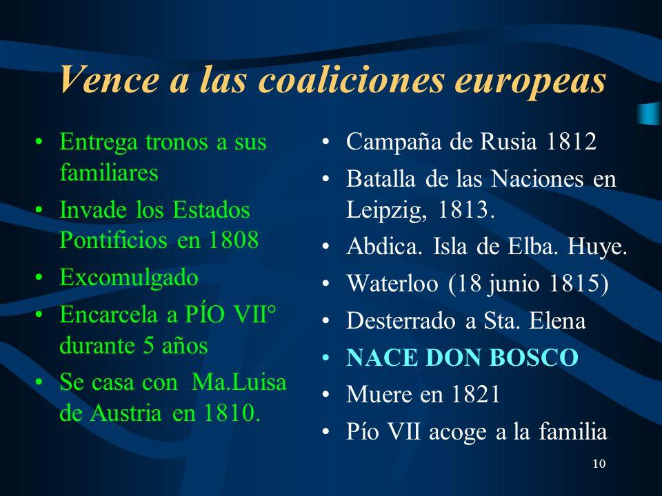 10 Vence a las coaliciones europeas Entrega tronos a sus familiares Invade los Estados Pontificios en 1808 Excomulgado Encarcela a PÍO VII° durante 5