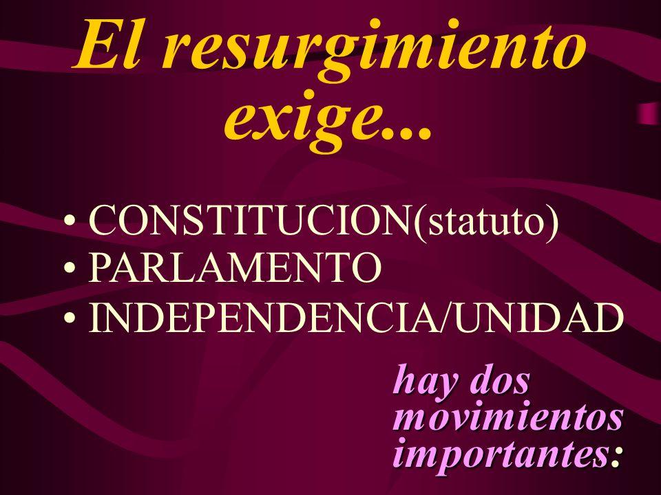 17 El resurgimiento exige... CONSTITUCION(statuto) PARLAMENTO INDEPENDENCIA/UNIDAD hay dos movimientos importantes: