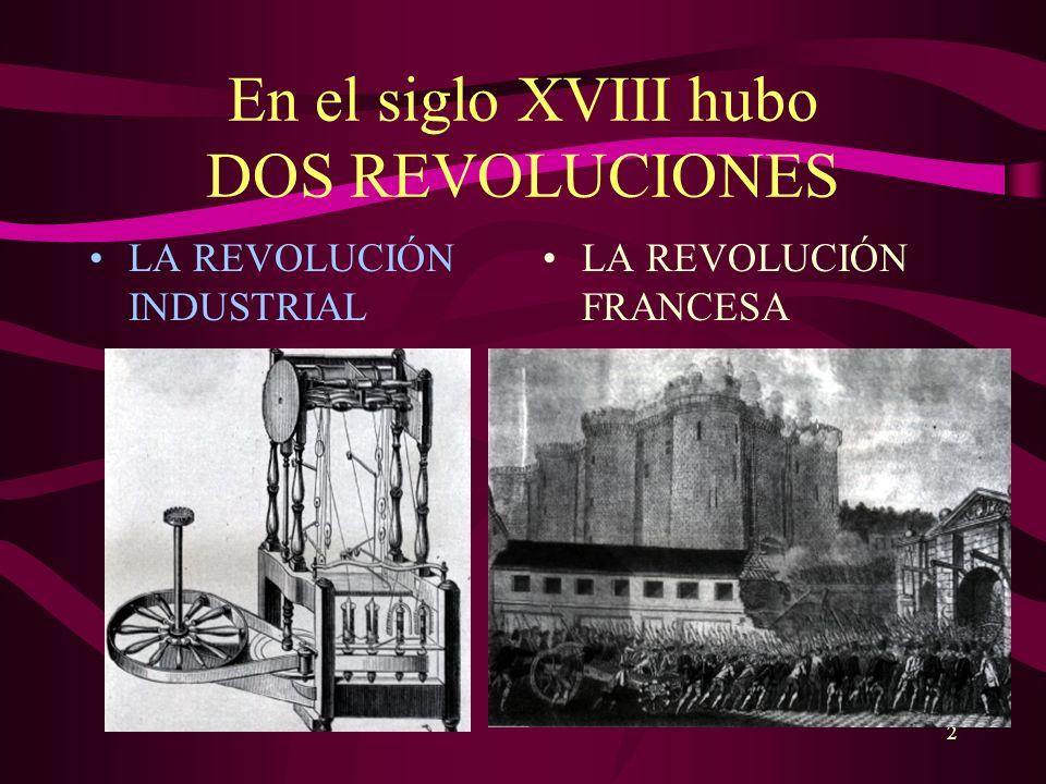 2 En el siglo XVIII hubo DOS REVOLUCIONES LA REVOLUCIÓN INDUSTRIAL LA REVOLUCIÓN FRANCESA