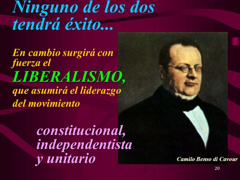 20 LIBERALISMO, constitucional, independentista y unitario Ninguno de los dos tendrá éxito... En cambio surgirá con fuerza el LIBERALISMO, que asumirá