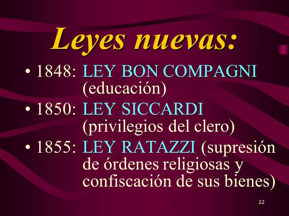 22 Leyes nuevas: 1848: LEY BON COMPAGNI (educación) 1850: LEY SICCARDI (privilegios del clero) 1855: LEY RATAZZI (supresión de órdenes religiosas y co