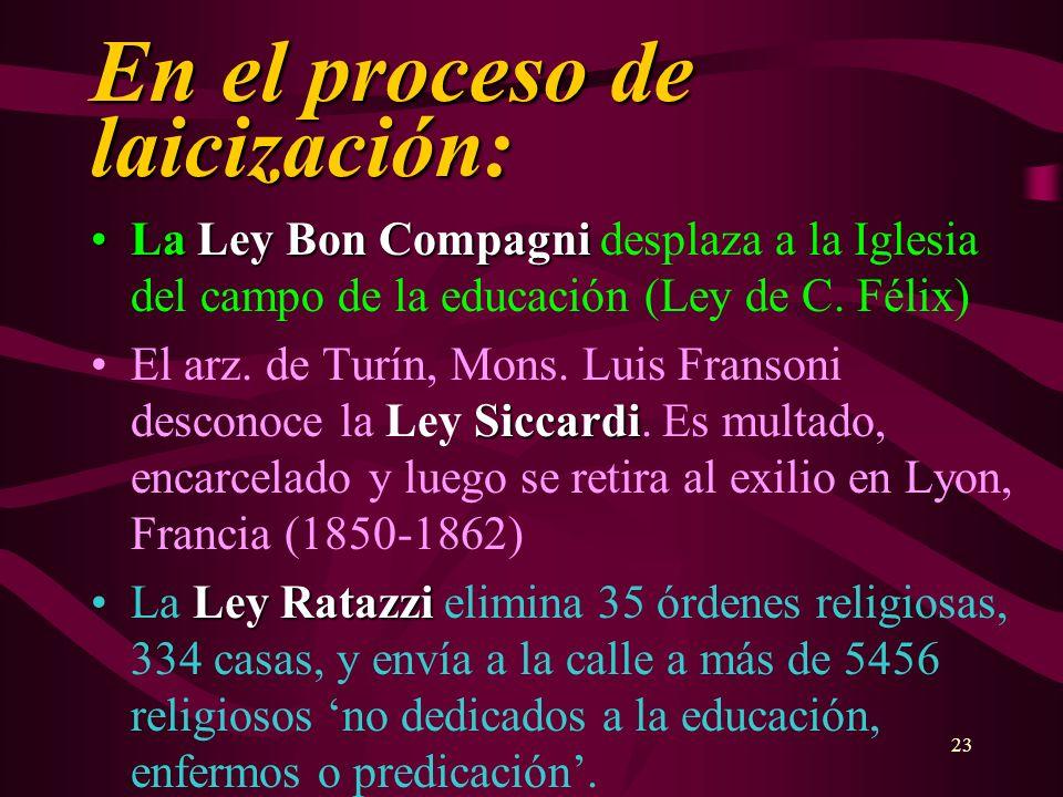 23 En el proceso de laicización: La Ley Bon CompagniLa Ley Bon Compagni desplaza a la Iglesia del campo de la educación (Ley de C. Félix) SiccardiEl a