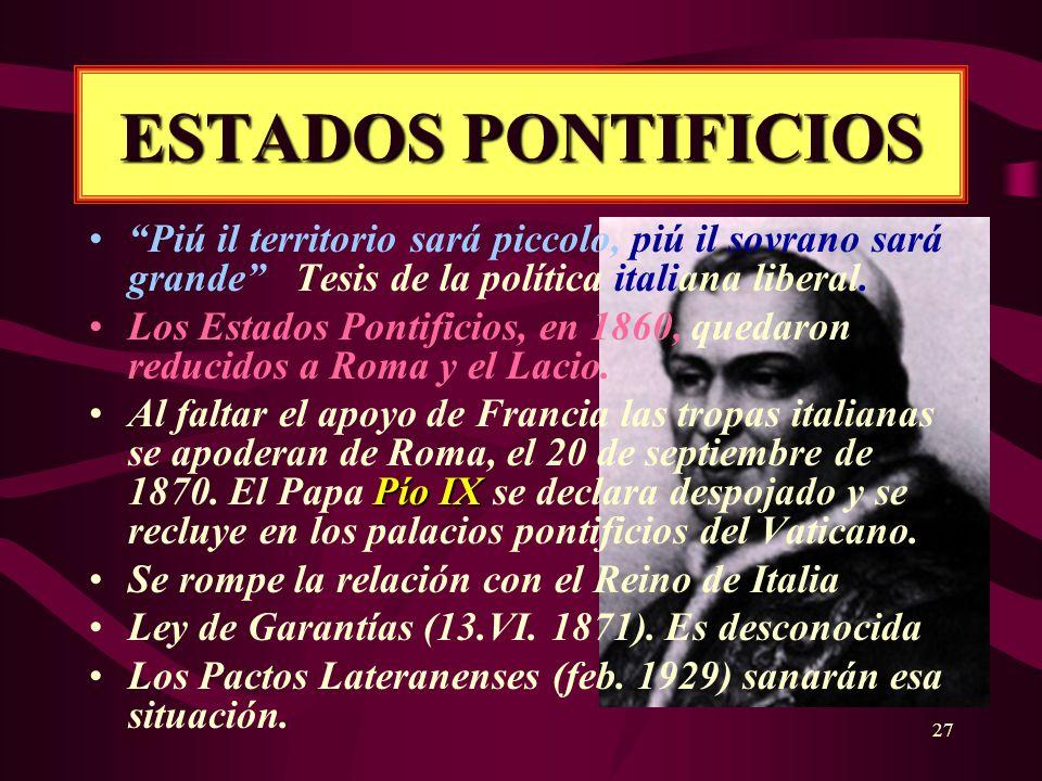 27 ESTADOS PONTIFICIOS Piú il territorio sará piccolo, piú il sovrano sará grande Tesis de la política italiana liberal. Los Estados Pontificios, en 1