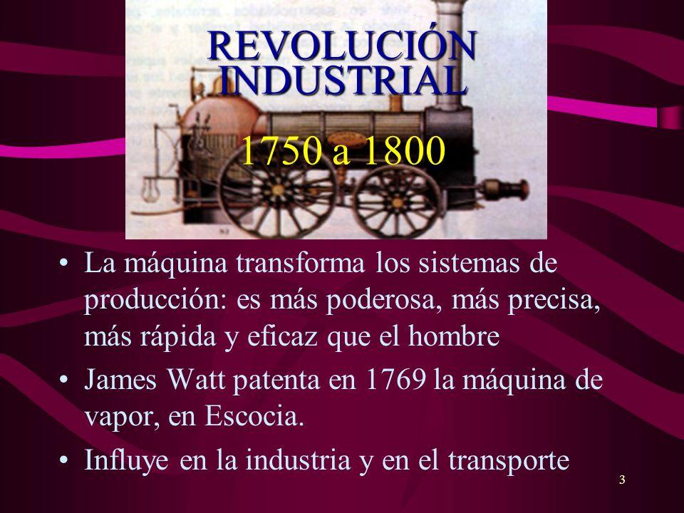3 REVOLUCIÓN INDUSTRIAL REVOLUCIÓN INDUSTRIAL 1750 a 1800 La máquina transforma los sistemas de producción: es más poderosa, más precisa, más rápida y