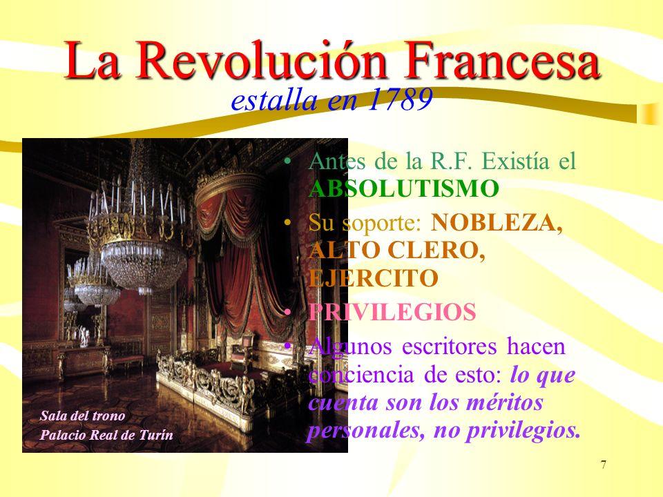 7 La Revolución Francesa La Revolución Francesa estalla en 1789 Antes de la R.F. Existía el ABSOLUTISMO Su soporte: NOBLEZA, ALTO CLERO, EJERCITO PRIV