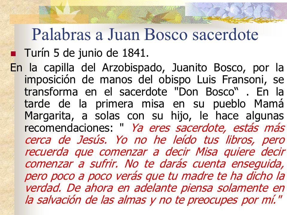 4. Al joven Juan Bosco aconsejaba su madre A los 19 a ñ os Juan quer í a hacerse religioso franciscano. Informado de la decisi ó n, el p á rroco de Ca