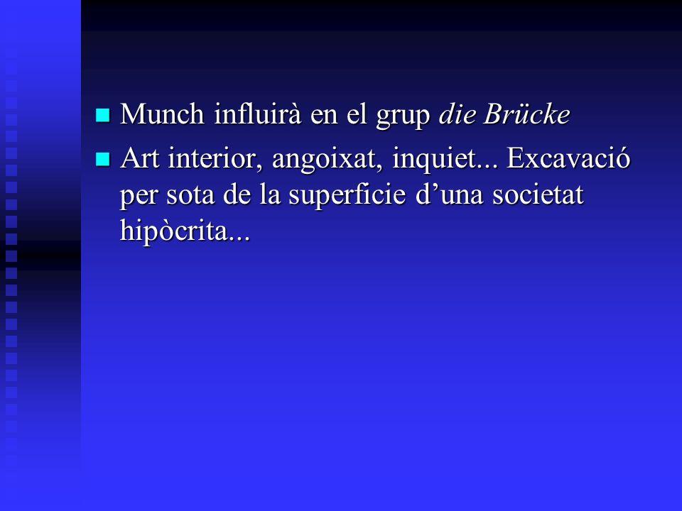 Munch influirà en el grup die Brücke Munch influirà en el grup die Brücke Art interior, angoixat, inquiet... Excavació per sota de la superficie duna