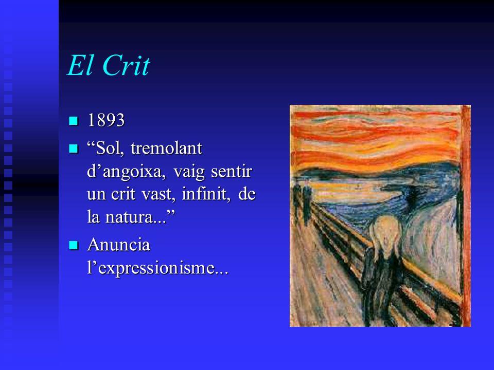 El Crit 1893 1893 Sol, tremolant dangoixa, vaig sentir un crit vast, infinit, de la natura... Sol, tremolant dangoixa, vaig sentir un crit vast, infin