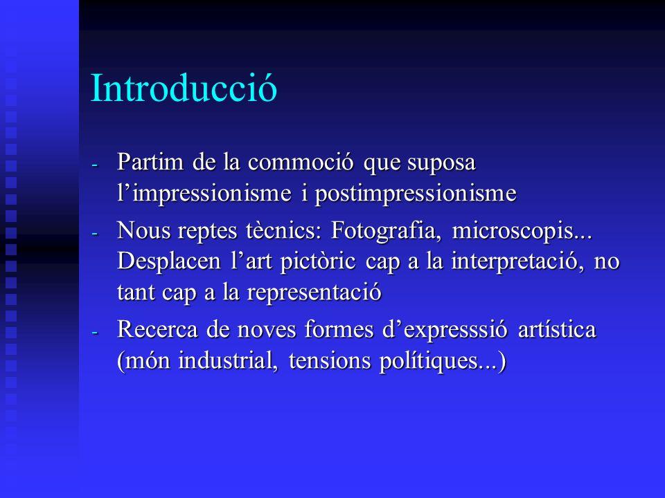 Introducció - Partim de la commoció que suposa limpressionisme i postimpressionisme - Nous reptes tècnics: Fotografia, microscopis... Desplacen lart p