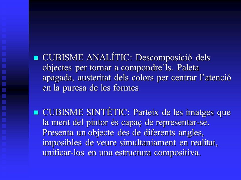 CUBISME ANALÍTIC: Descomposició dels objectes per tornar a compondre´ls.