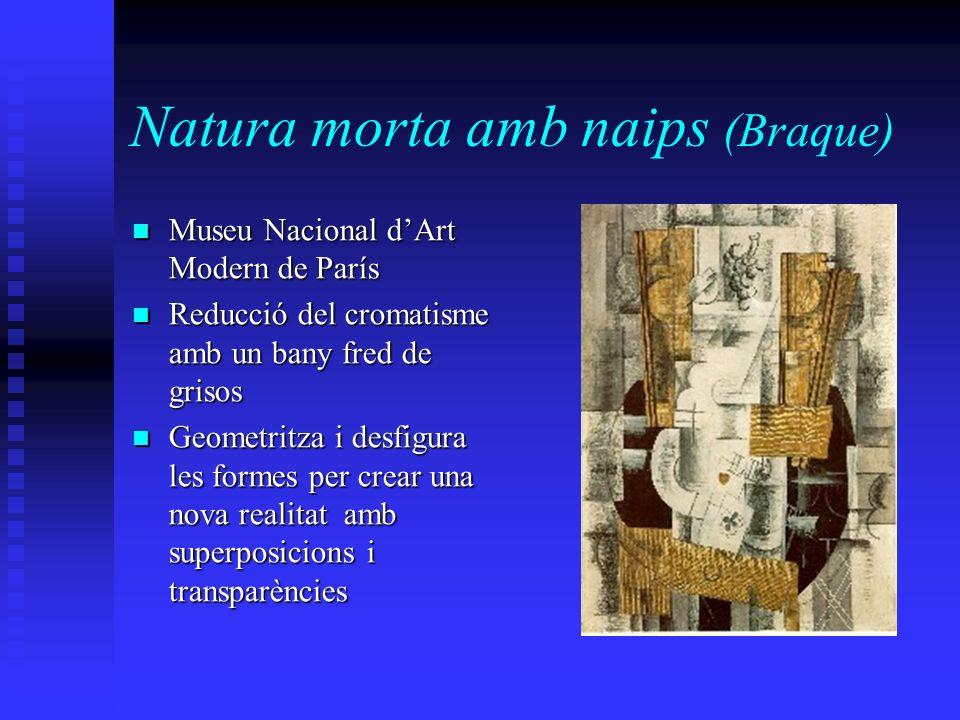 Natura morta amb naips (Braque) Museu Nacional dArt Modern de París Museu Nacional dArt Modern de París Reducció del cromatisme amb un bany fred de gr