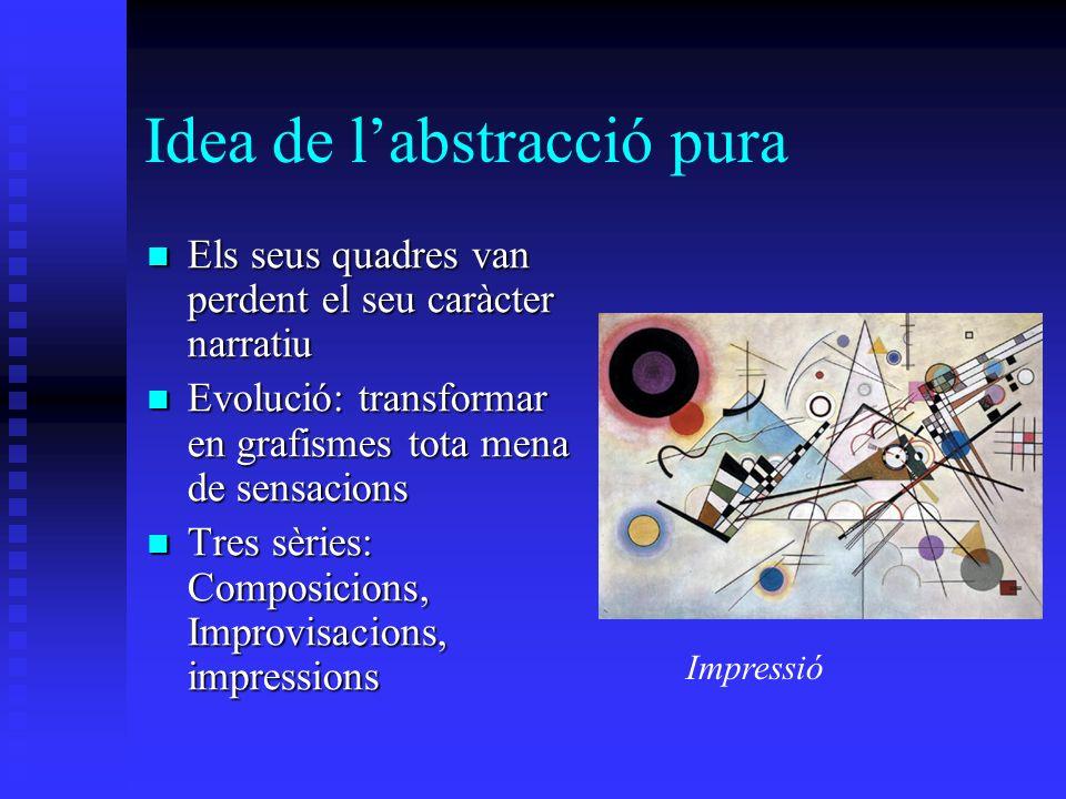 Idea de labstracció pura Els seus quadres van perdent el seu caràcter narratiu Els seus quadres van perdent el seu caràcter narratiu Evolució: transfo