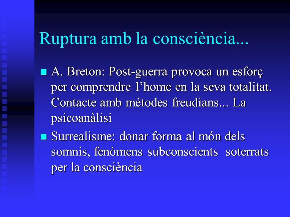 Ruptura amb la consciència... A. Breton: Post-guerra provoca un esforç per comprendre lhome en la seva totalitat. Contacte amb mètodes freudians... La