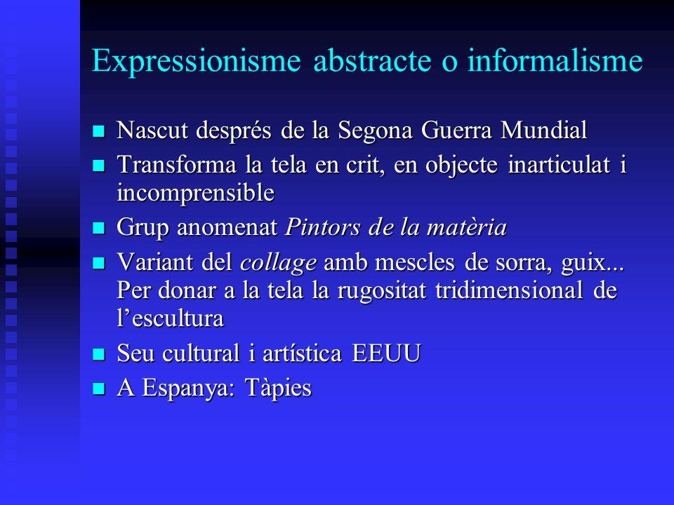 Expressionisme abstracte o informalisme Nascut després de la Segona Guerra Mundial Nascut després de la Segona Guerra Mundial Transforma la tela en cr