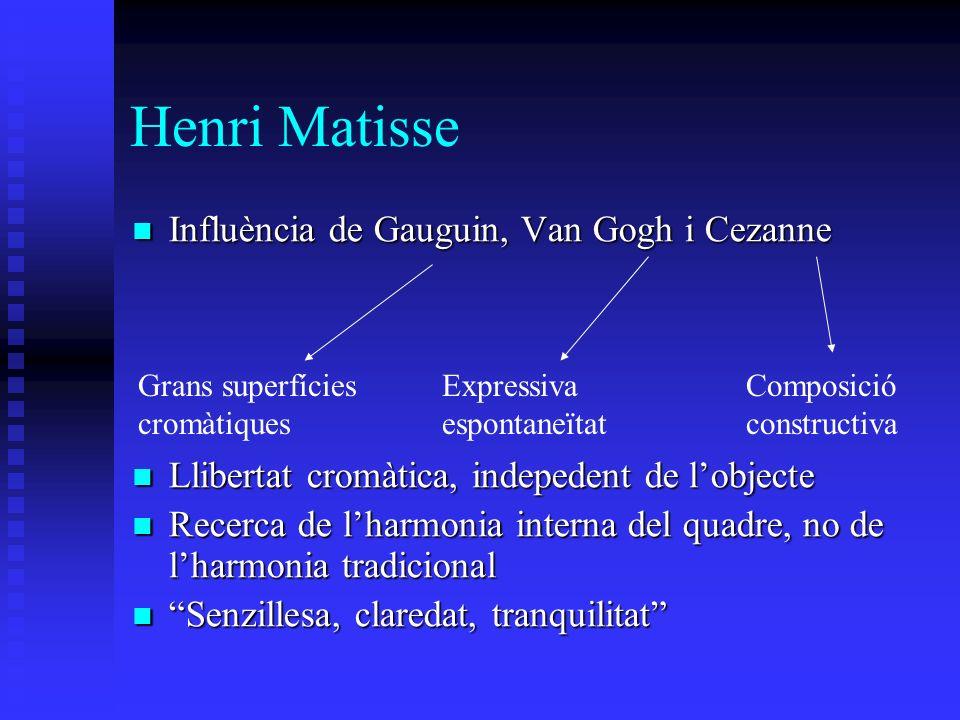 Henri Matisse Influència de Gauguin, Van Gogh i Cezanne Influència de Gauguin, Van Gogh i Cezanne Llibertat cromàtica, indepedent de lobjecte Llibertat cromàtica, indepedent de lobjecte Recerca de lharmonia interna del quadre, no de lharmonia tradicional Recerca de lharmonia interna del quadre, no de lharmonia tradicional Senzillesa, claredat, tranquilitat Senzillesa, claredat, tranquilitat Grans superfícies cromàtiques Expressiva espontaneïtat Composició constructiva