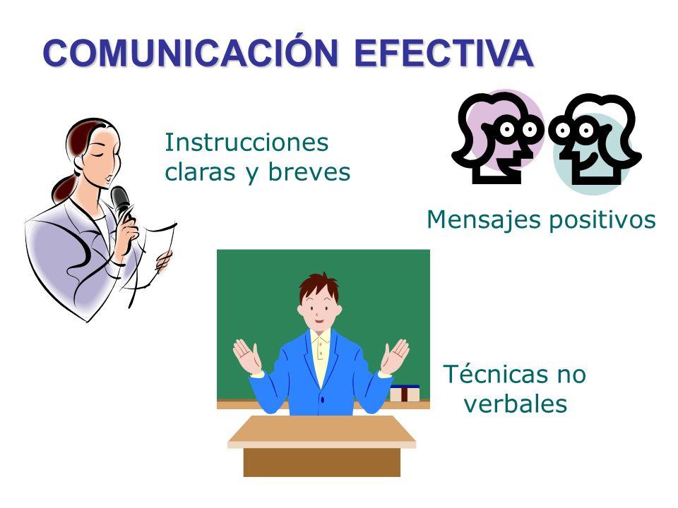 COMUNICACIÓN EFECTIVA Técnicas no verbales Instrucciones claras y breves Mensajes positivos