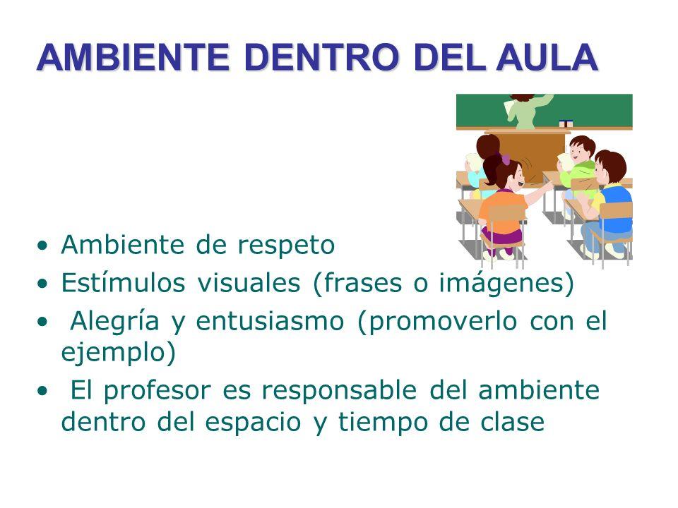 AMBIENTE DENTRO DEL AULA Ambiente de respeto Estímulos visuales (frases o imágenes) Alegría y entusiasmo (promoverlo con el ejemplo) El profesor es re
