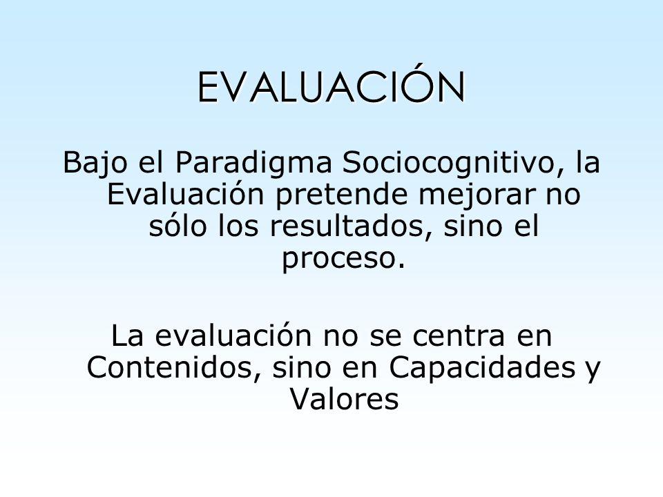 EVALUACIÓN Bajo el Paradigma Sociocognitivo, la Evaluación pretende mejorar no sólo los resultados, sino el proceso. La evaluación no se centra en Con