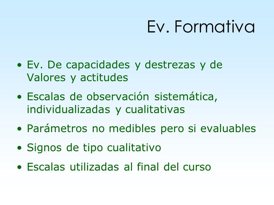 Ev. De capacidades y destrezas y de Valores y actitudes Escalas de observación sistemática, individualizadas y cualitativas Parámetros no medibles per