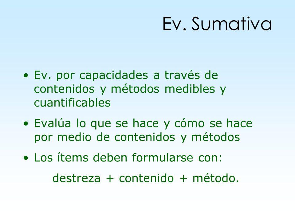 Ev. Sumativa Ev. por capacidades a través de contenidos y métodos medibles y cuantificables Evalúa lo que se hace y cómo se hace por medio de contenid