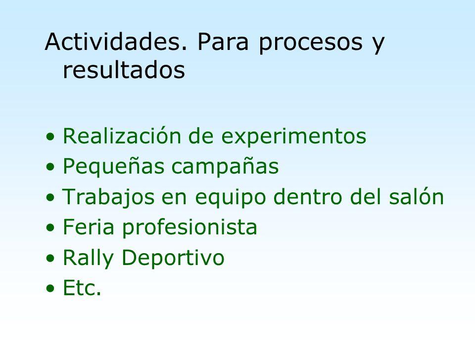 Actividades. Para procesos y resultados Realización de experimentos Pequeñas campañas Trabajos en equipo dentro del salón Feria profesionista Rally De