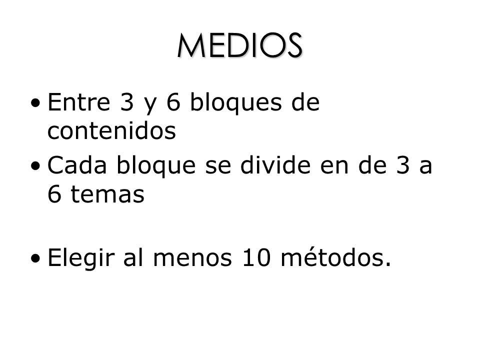 MEDIOS Entre 3 y 6 bloques de contenidos Cada bloque se divide en de 3 a 6 temas Elegir al menos 10 métodos.