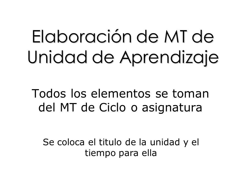 Elaboración de MT de Unidad de Aprendizaje Todos los elementos se toman del MT de Ciclo o asignatura Se coloca el titulo de la unidad y el tiempo para ella