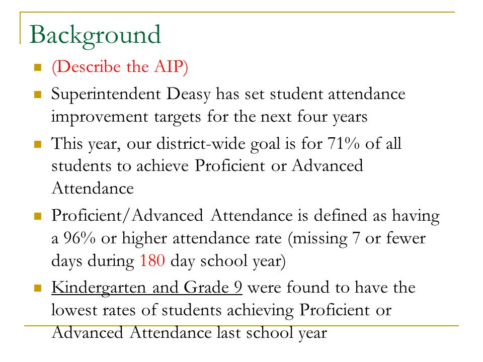 Background (Describe the AIP) Superintendent Deasy has set student attendance improvement targets for the next four years This year, our district-wide goal is for 71% of all students to achieve Proficient or Advanced Attendance Proficient/Advanced Attendance is defined as having a 96% or higher attendance rate (missing 7 or fewer days during 180 day school year) Kindergarten and Grade 9 were found to have the lowest rates of students achieving Proficient or Advanced Attendance last school year