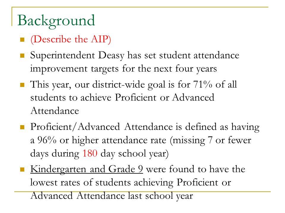Informacion Sobre el Programa El superintendente Deasy ha puesto la meta del progrmaa de mejoramiento de asistencia que se cumpla en los siguientes 4 anos en las escuelas selectas.