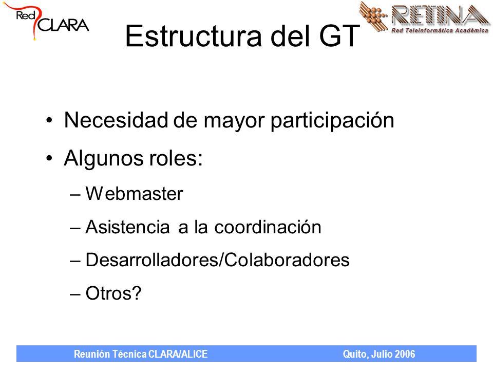 Reunión Técnica CLARA/ALICE Quito, Julio 2006 Estructura del GT Necesidad de mayor participación Algunos roles: –Webmaster –Asistencia a la coordinación –Desarrolladores/Colaboradores –Otros