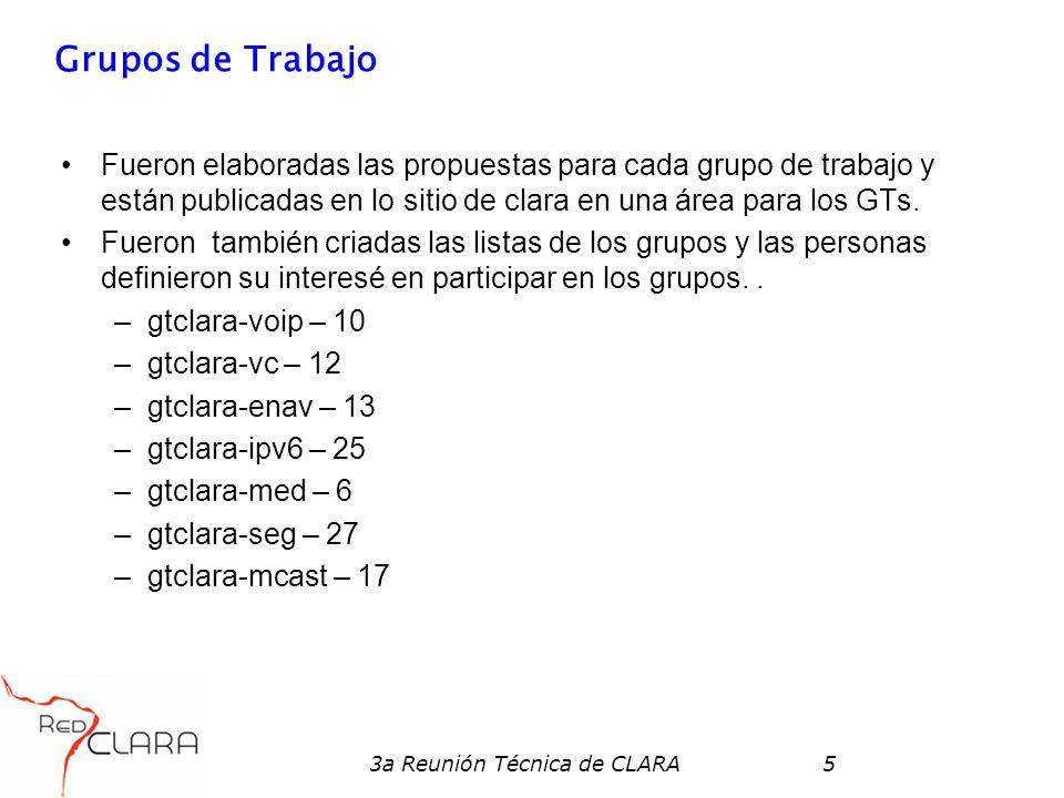 3a Reunión Técnica de CLARA5 Grupos de Trabajo Fueron elaboradas las propuestas para cada grupo de trabajo y están publicadas en lo sitio de clara en una área para los GTs.