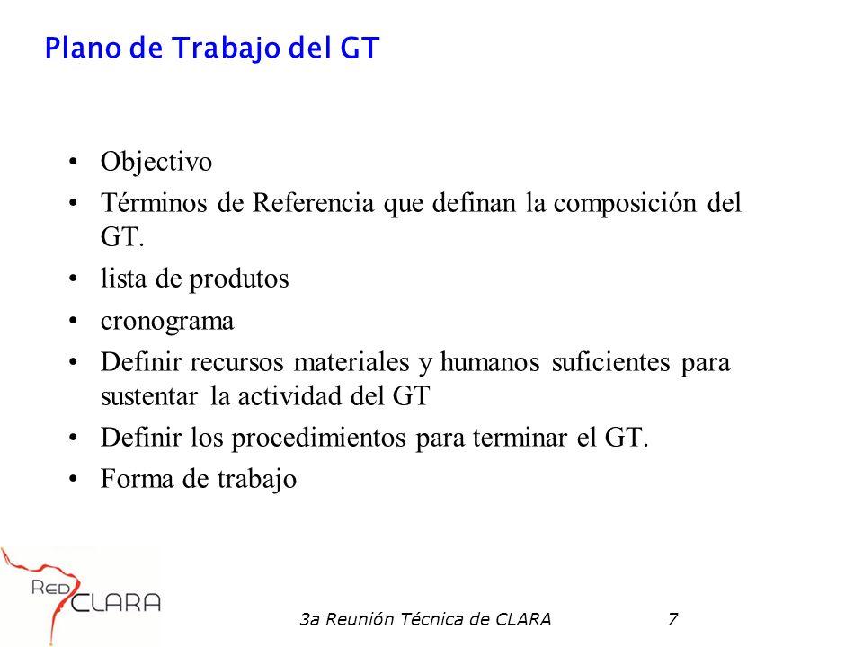 3a Reunión Técnica de CLARA7 Plano de Trabajo del GT Objectivo Términos de Referencia que definan la composición del GT.