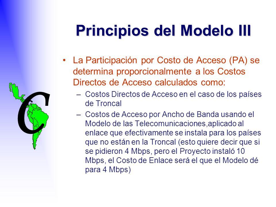 C C La Participación por Costo de Acceso (PA) se determina proporcionalmente a los Costos Directos de Acceso calculados como: –Costos Directos de Acceso en el caso de los países de Troncal –Costos de Acceso por Ancho de Banda usando el Modelo de las Telecomunicaciones,aplicado al enlace que efectivamente se instala para los países que no están en la Troncal (esto quiere decir que si se pidieron 4 Mbps, pero el Proyecto instaló 10 Mbps, el Costo de Enlace será el que el Modelo dé para 4 Mbps) Principios del Modelo III