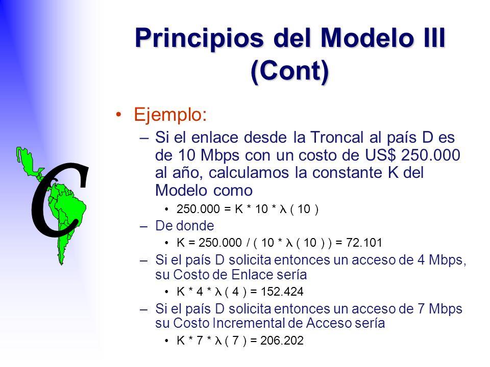 C C Ejemplo: –Si el enlace desde la Troncal al país D es de 10 Mbps con un costo de US$ 250.000 al año, calculamos la constante K del Modelo como 250.000 = K * 10 * ( 10 ) –De donde K = 250.000 / ( 10 * ( 10 ) ) = 72.101 –Si el país D solicita entonces un acceso de 4 Mbps, su Costo de Enlace sería K * 4 * ( 4 ) = 152.424 –Si el país D solicita entonces un acceso de 7 Mbps su Costo Incremental de Acceso sería K * 7 * ( 7 ) = 206.202 Principios del Modelo III (Cont)