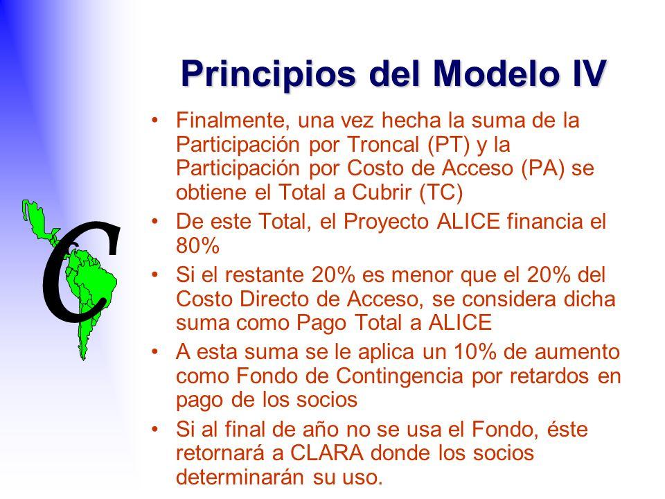 C C Finalmente, una vez hecha la suma de la Participación por Troncal (PT) y la Participación por Costo de Acceso (PA) se obtiene el Total a Cubrir (TC) De este Total, el Proyecto ALICE financia el 80% Si el restante 20% es menor que el 20% del Costo Directo de Acceso, se considera dicha suma como Pago Total a ALICE A esta suma se le aplica un 10% de aumento como Fondo de Contingencia por retardos en pago de los socios Si al final de año no se usa el Fondo, éste retornará a CLARA donde los socios determinarán su uso.