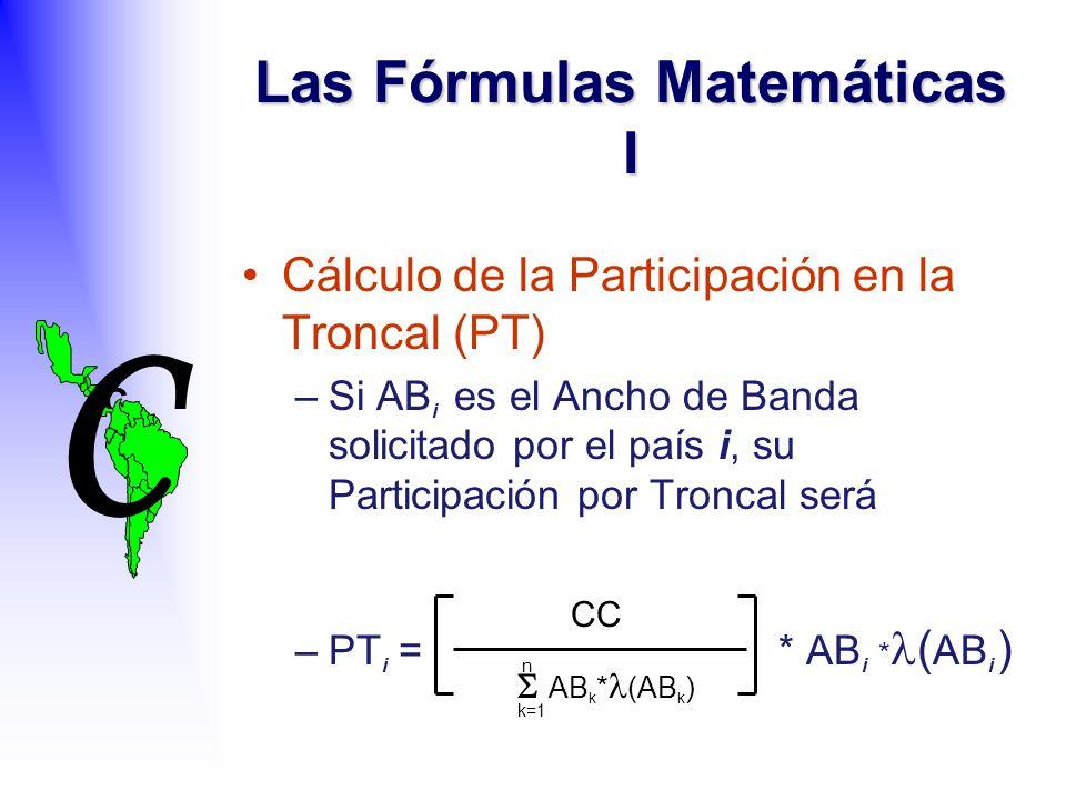 C C Las Fórmulas Matemáticas I Cálculo de la Participación en la Troncal (PT) –Si AB i es el Ancho de Banda solicitado por el país i, su Participación por Troncal será –PT i = * AB i * ( AB i ) AB k * (AB k ) k=1 n CC