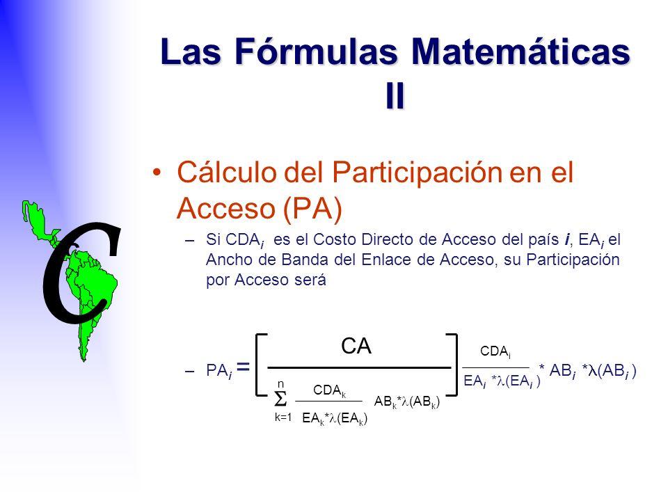 C C Las Fórmulas Matemáticas II Cálculo del Participación en el Acceso (PA) –Si CDA i es el Costo Directo de Acceso del país i, EA i el Ancho de Banda del Enlace de Acceso, su Participación por Acceso será –PA i = * AB i * (AB i ) AB k * (AB k ) CA k=1 n EA k * (EA k ) CDA k EA i * (EA i ) CDA i