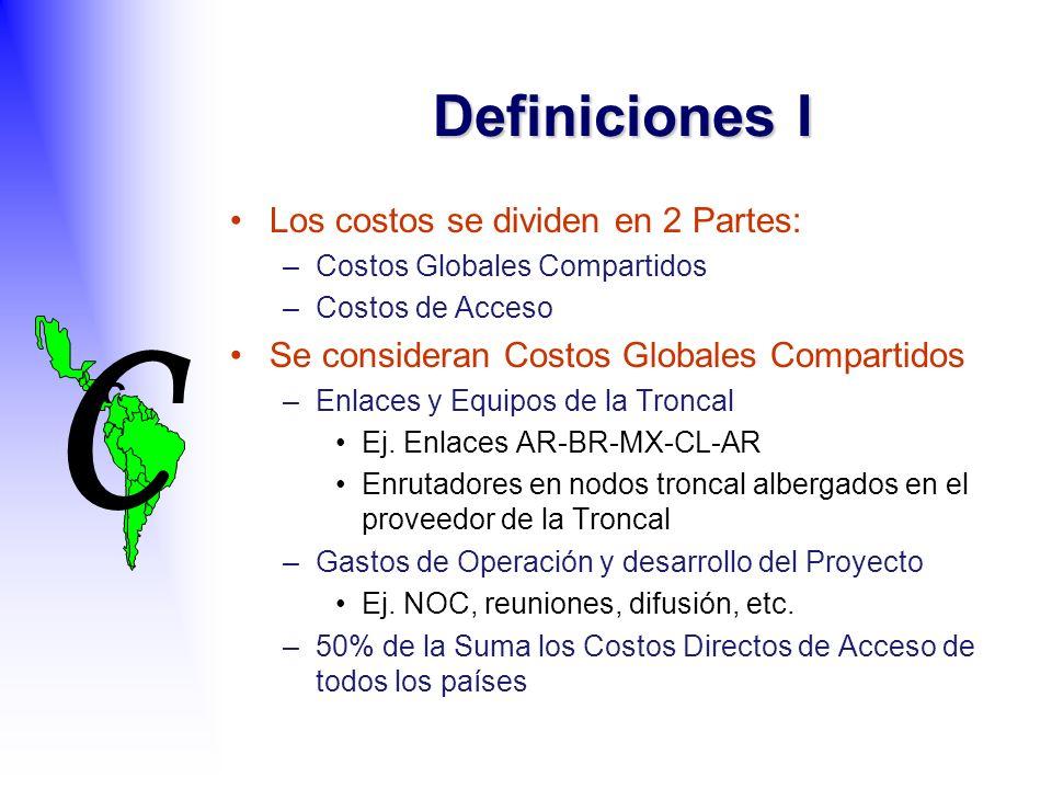 C C Definiciones I Los costos se dividen en 2 Partes: –Costos Globales Compartidos –Costos de Acceso Se consideran Costos Globales Compartidos –Enlaces y Equipos de la Troncal Ej.