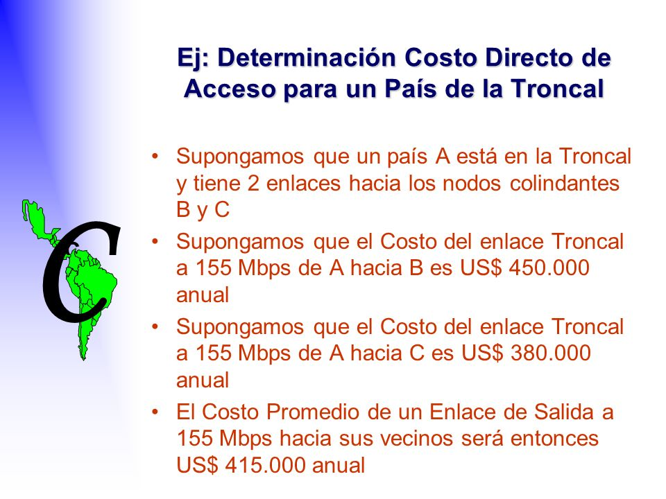 C C Ej: Determinación Costo Directo de Acceso para un País de la Troncal Supongamos que un país A está en la Troncal y tiene 2 enlaces hacia los nodos colindantes B y C Supongamos que el Costo del enlace Troncal a 155 Mbps de A hacia B es US$ 450.000 anual Supongamos que el Costo del enlace Troncal a 155 Mbps de A hacia C es US$ 380.000 anual El Costo Promedio de un Enlace de Salida a 155 Mbps hacia sus vecinos será entonces US$ 415.000 anual