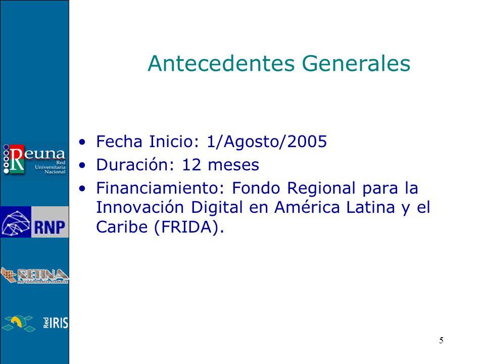 5 Antecedentes Generales Fecha Inicio: 1/Agosto/2005 Duración: 12 meses Financiamiento: Fondo Regional para la Innovación Digital en América Latina y el Caribe (FRIDA).