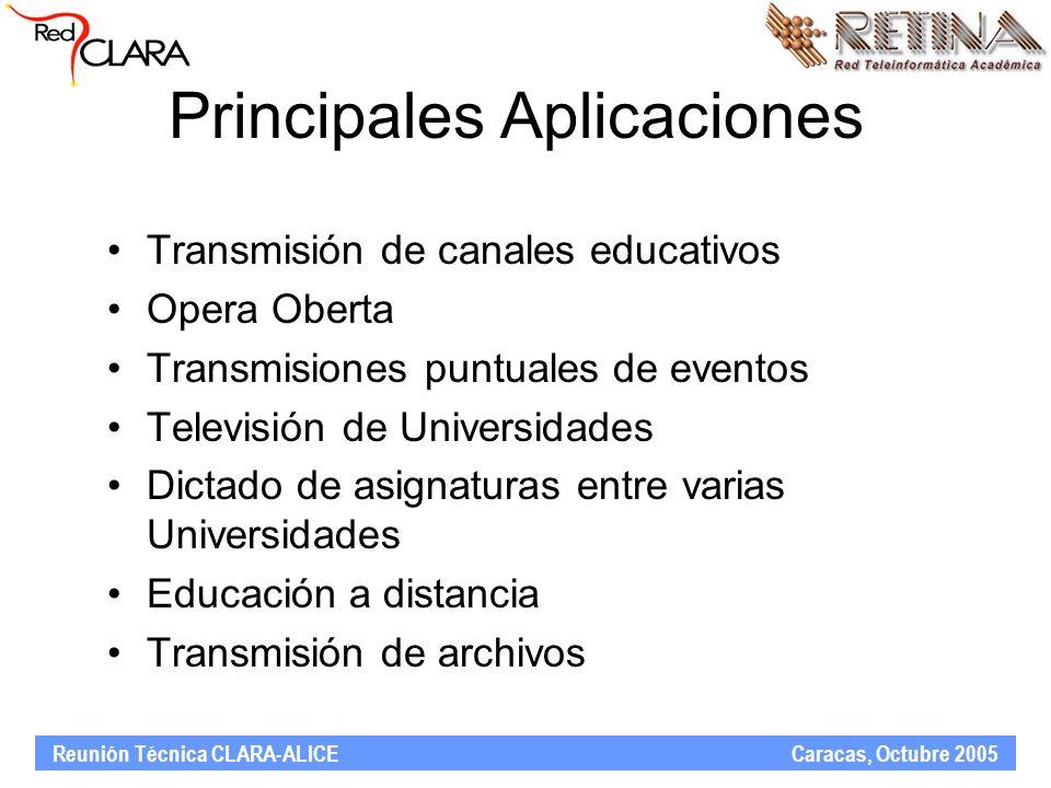Reunión Técnica CLARA-ALICE Caracas, Octubre 2005 Principales Aplicaciones Transmisión de canales educativos Opera Oberta Transmisiones puntuales de eventos Televisión de Universidades Dictado de asignaturas entre varias Universidades Educación a distancia Transmisión de archivos